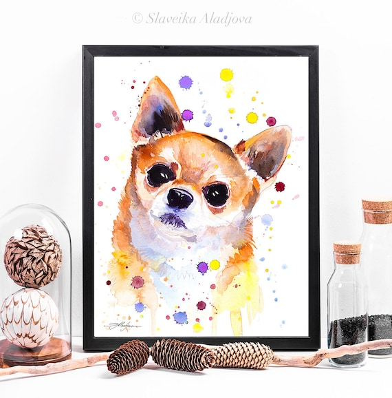 Chihuahua watercolor framed canvas by Slaveika Aladjova, Limited edition, art, animal watercolor, animal illustration, extra large print