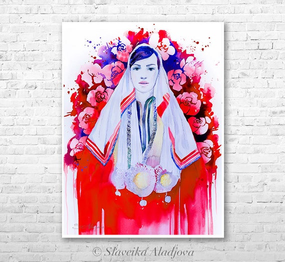 Fashion Illustration 6 watercolor painting print by Slaveika Aladjova, Woman art, Girl Illustration, Bulgarian national costume, wall art