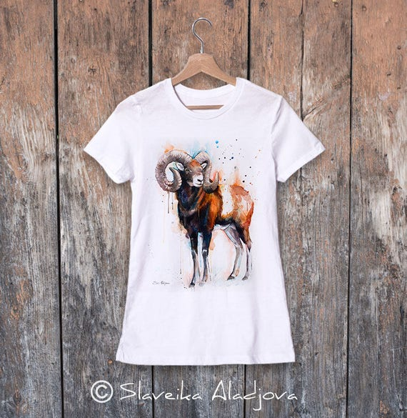 Mouflon watercolor ladies' T-shirt, women's tees, Teen Clothing, Girls' Clothing, ring spun Cotton 100%, watercolor print