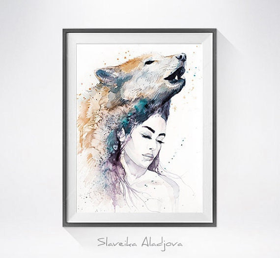 Original Watercolour Painting- Wolf Girl art, animal, illustration, animal watercolor, animals paintings, animals, portrait,