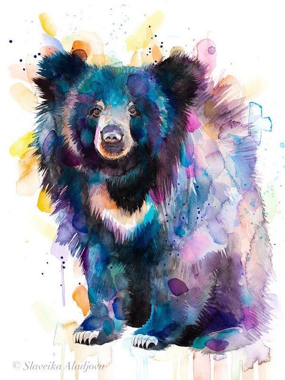 Original Watercolour Painting- Sloth bear art, animal, illustration, animal watercolor, animals paintings, animals, portrait,