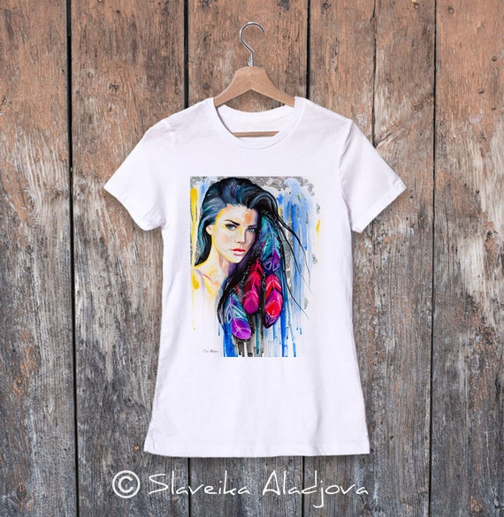 Colorful Feathers watercolor ladies' T-shirt, women's tees, Teen Clothing, Girls' Clothing, ring spun Cotton 100%, watercolor print
