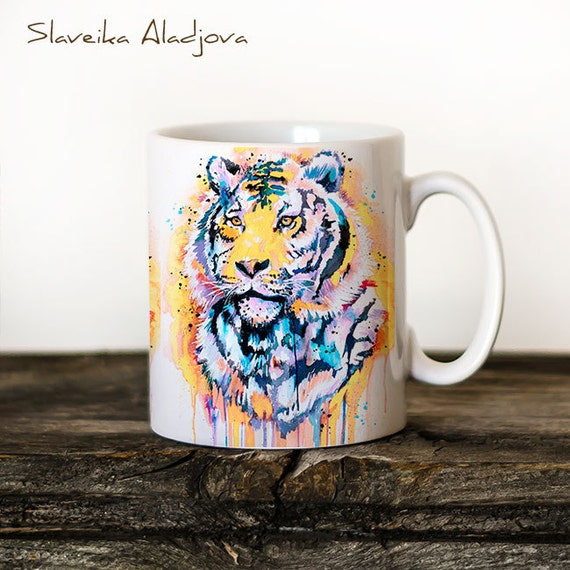 Tiger Mug Watercolor Ceramic Mug Unique Gift Coffee Mug Animal Mug Tea Cup Art Illustration Cool Kitchen Art Printed mug