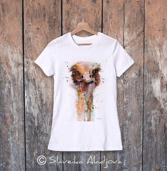 Ostrich watercolor ladies' T-shirt, women's tees, Teen Clothing, Girls' Clothing, ring spun Cotton 100%, watercolor print
