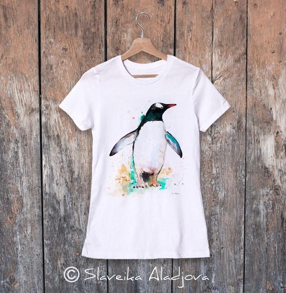 Gentoo penguin watercolor ladies' T-shirt, women's tees, Teen Clothing, Girls' Clothing, ring spun Cotton 100%, watercolor print T-shirt