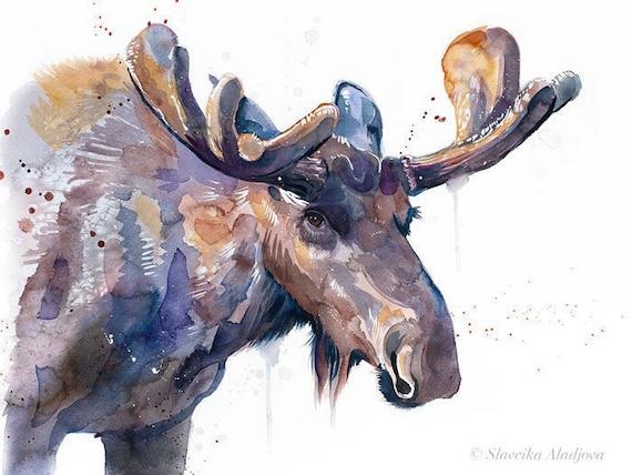 Original Watercolour Painting- Moose, Elk art, animal, illustration, animal watercolor, animals paintings, animals, portrait,