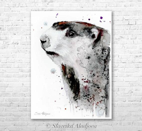 Marmot 2 watercolor painting print by Slaveika Aladjova, art, animal, illustration, home decor, Nursery, gift, Wildlife, wall art