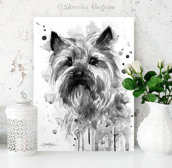 Black and white Cairn Terrier watercolor painting print by Slaveika Aladjova, animal, illustration, home decor, Contemporary, dog art,