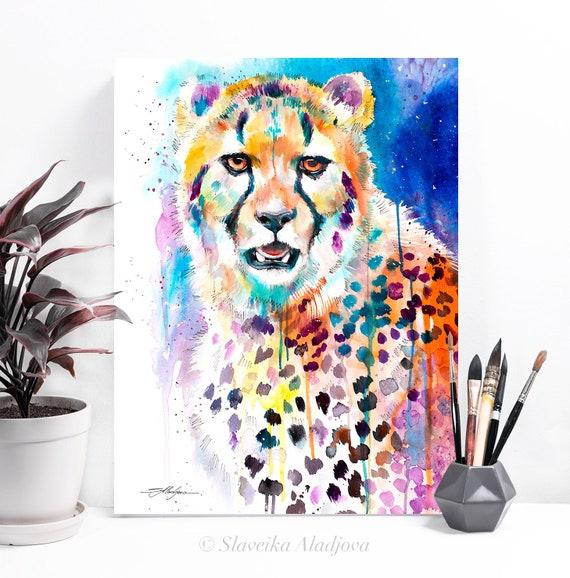 Cheetah watercolor painting print by Slaveika Aladjova, animal, illustration, home decor, wall art, gift, portrait, Contemporary, big cat