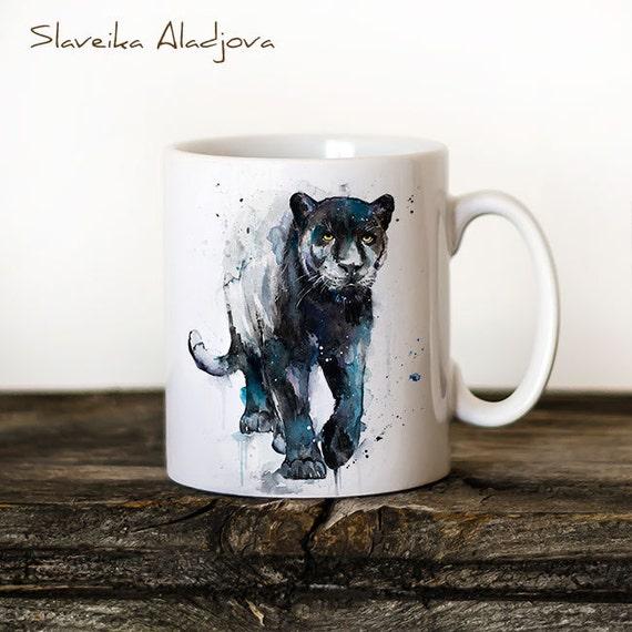 Black panther Mug Watercolor Ceramic Mug Unique Gift Coffee Mug Animal Mug Tea Cup Art Illustration Cool Kitchen Art Printed