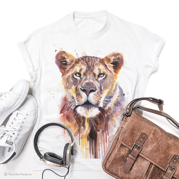 African Lioness T-shirt, Unisex T-shirt, ring spun Cotton 100%, watercolor print T-shirt, T shirt art, T shirt animal, XS, S, M, L, XL, XXL