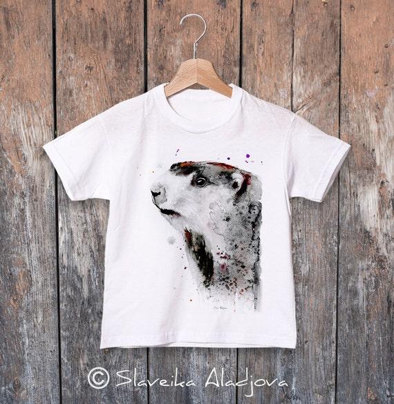 Marmot watercolor kids T-shirt, Boys' Clothing, Girls' Clothing, ring spun Cotton 100%, watercolor print T-shirt, T shirt art