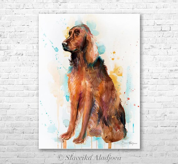 Original Watercolour Painting- Irish Setter art, animal, illustration, animal watercolor, animals paintings, animals, portrait,