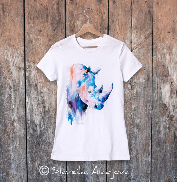 Rhino watercolor ladies' T-shirt, women's tees, Teen Clothing, Girls' Clothing, ring spun Cotton 100%, watercolor print T-shirt, art