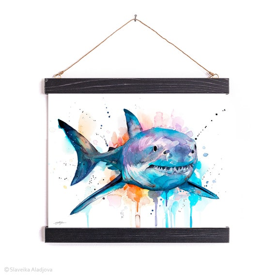 Great white shark Watercolor Painting Framed, Wall Hanging print, Animal, Home Decor, Wall Art, Illustration, Ready to Hang, Nursery, Print