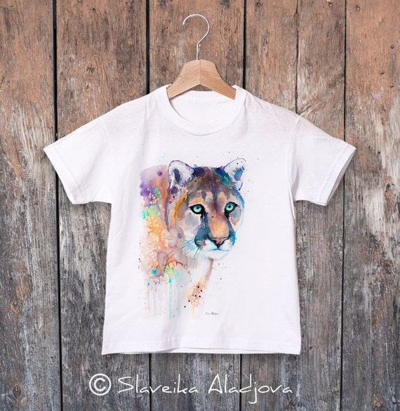 Puma watercolor kids T-shirt, Boys' Clothing, Girls' Clothing, ring spun Cotton 100%, watercolor print T-shirt, T shirt art