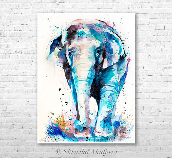 Asian Elephant watercolor painting print by Slaveika Aladjova, art, animal, illustration, home decor, Nursery, Wildlife, wall art, gift