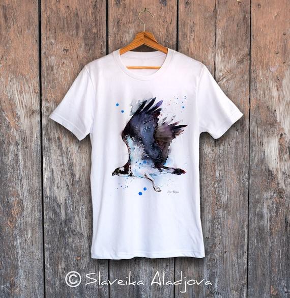 Osprey T-shirt, Unisex T-shirt, ring spun Cotton 100%, watercolor print T-shirt, T shirt art, T shirt animal,XS, S, M, L, XL, XXL