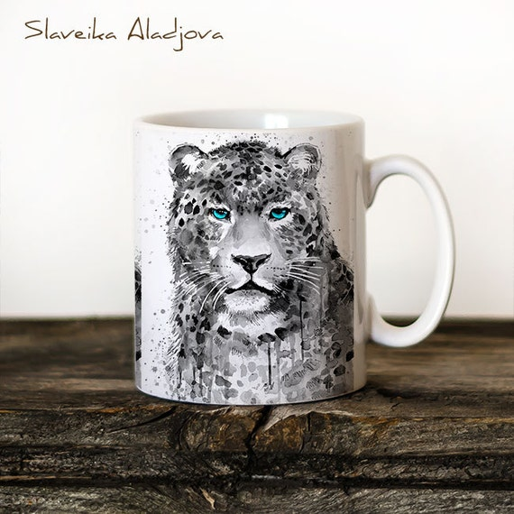 Panther Leopard Mug Watercolor Ceramic Mug Bear Unique Gift Coffee Mug Animal Mug Tea Cup Art Illustration Cool Kitchen Art Printed mug