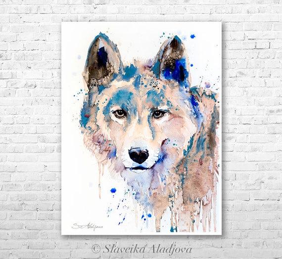 Wolf 2 watercolor painting print  by Slaveika Aladjova, art, animal, illustration, home decor, Nursery, gift, Wildlife, wall art