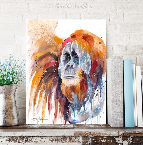 Sumatran orangutan watercolor painting print by Slaveika Aladjova, art, animal, illustration, home decor, Nursery, Wildlife, monkey