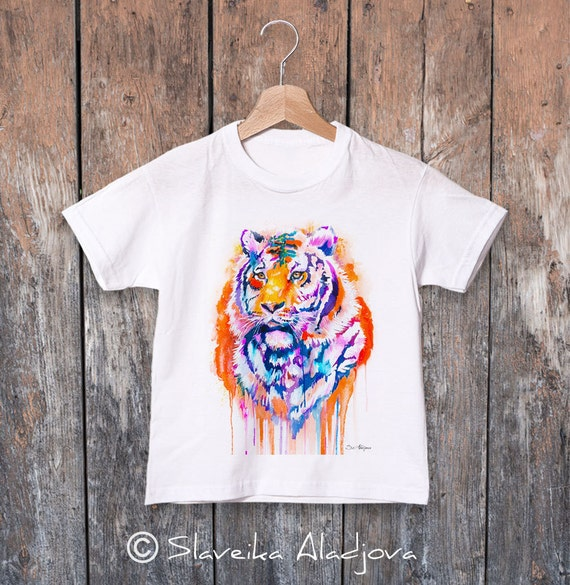 Tiger watercolor kids T-shirt, Boys' Clothing, Girls' Clothing, ring spun Cotton 100%, watercolor print T-shirt, T shirt art