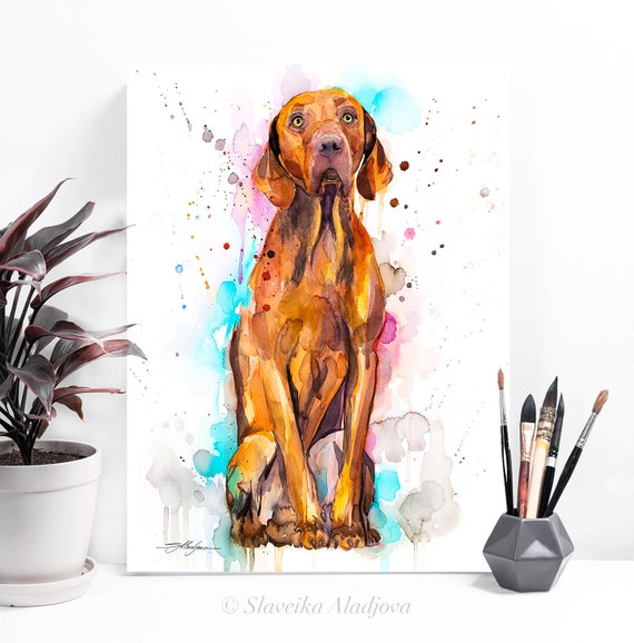 Vizsla Dog watercolor painting print by Slaveika Aladjova, animal, illustration, home decor, Nursery, gift, Contemporary, dog art