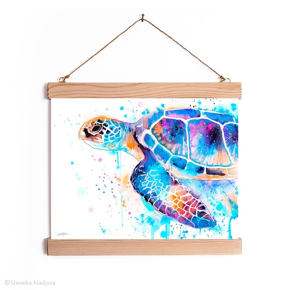 Blue Sea turtle Watercolor Painting Framed, Wall Hanging print, Animal, Home Decor, Wall Art, Illustration, Ready to Hang, Nursery, Print