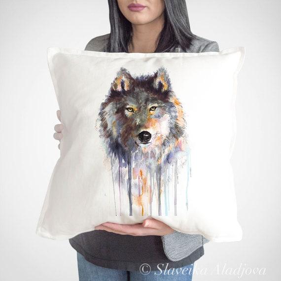 Gray Wolf cushion cover by Slaveika Aladjova, charcoal wolf throw pillow, Decorative Pillow, Animal Art, Watercolor pillow, Christmas gift