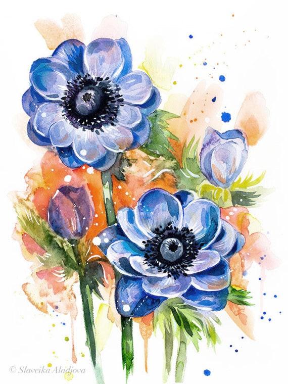Original Watercolour Painting- Anemone Flower art,, illustration, paintings, Contemporary, plant, Botanical