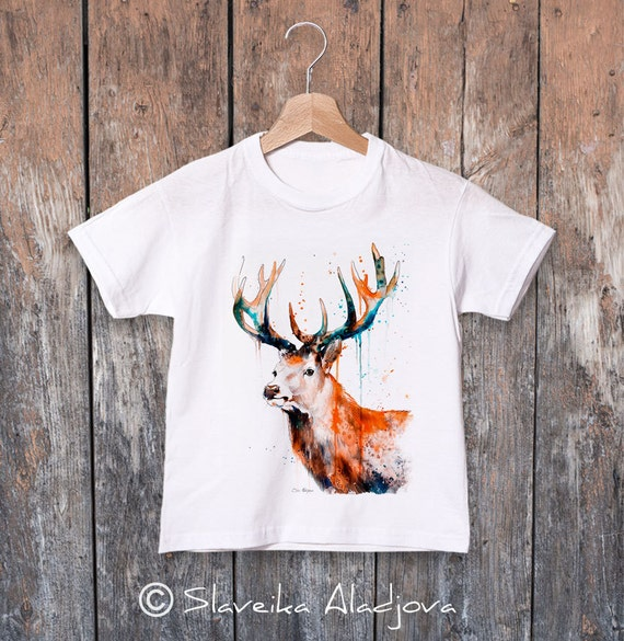 Deer watercolor kids T-shirt, Boys' Clothing, Girls' Clothing, ring spun Cotton 100%, watercolor print T-shirt,T shirt art