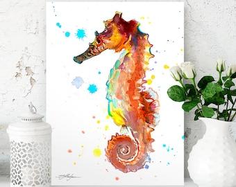 Seahorse watercolor painting print by Slaveika Aladjova, art, animal, illustration, Sea art, sea life art, home decor, Wall art