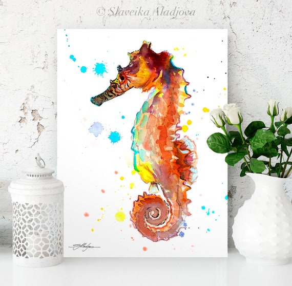 Seahorse watercolor painting print by Slaveika Aladjova, art, animal, illustration, Sea art, sea life art, home decor, Wall art
