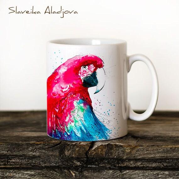 Macaw Parrot Mug Watercolor Ceramic Mug Unique Gift Coffee Mug Animal Mug Tea Cup Art Illustration Cool Kitchen Art Printed mug bird Parrot
