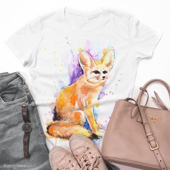 Fennec fox, Sahara watercolor ladies' T-shirt, women's tees, Teen Clothing, Girls' Clothing, ring spun Cotton 100%, watercolor print