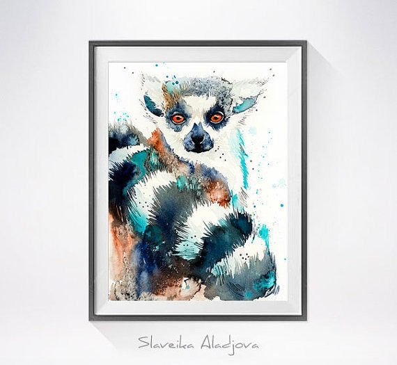 Original Watercolour Painting- Lemur art, Lemur Original , animal, illustration, animal watercolor, animals paintings, animals, portrait,