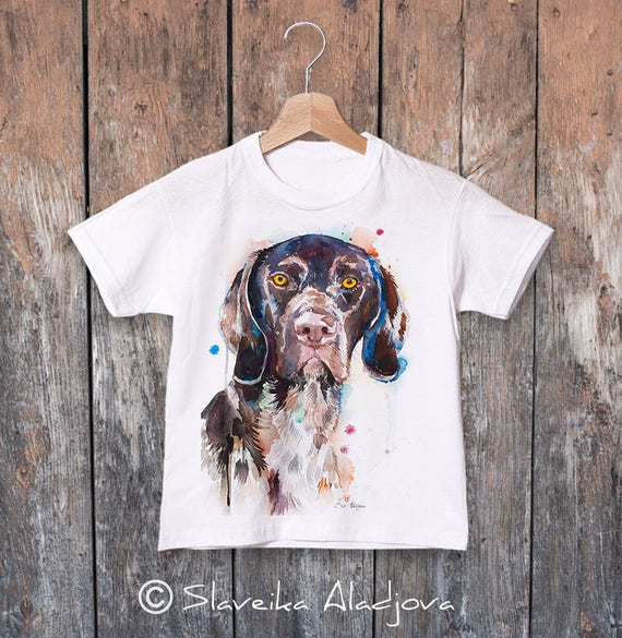 German Shorthaired Pointer watercolor kids T-shirt, Boys' Clothing, Girls' Clothing, ring spun Cotton 100%, watercolor print T-shirt,