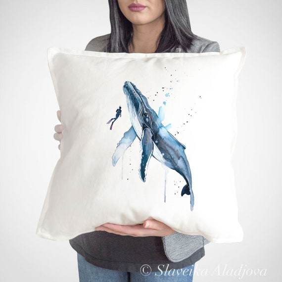 Scuba Diving with Humpback Whale throw pillow cover by Slaveika Aladjova, cushion cover, Decorative Pillow Cover, Animal , Watercolor pillow
