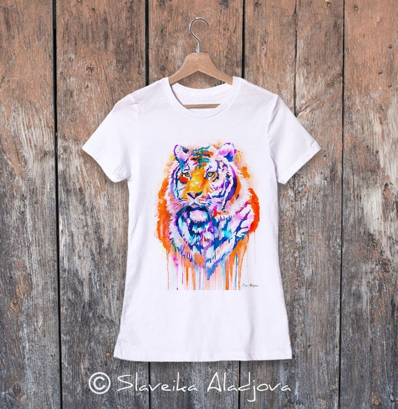 Tiger watercolor ladies' T-shirt, women's tees, Teen Clothing, Girls' Clothing, ring spun Cotton 100%, watercolor print