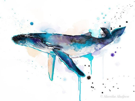 Original Watercolour Painting- Humpback whale art, animal, illustration, animal watercolor, animals paintings, animals, portrait,