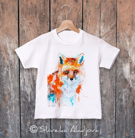 Fox watercolor kids T-shirt, Boys' Clothing, Girls' Clothing, ring spun Cotton 100%, watercolor print T-shirt,T shirt art