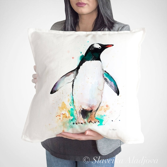Gentoo penguin throw pillow cover by Slaveika Aladjova, cushion cover, Decorative Pillow Cover, Animal Art, Watercolor pillow, Christmas