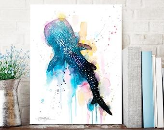Blue Whale shark watercolor painting print by Slaveika Aladjova, art, animal, illustration, Sea art, sea life art, home decor, Wall art