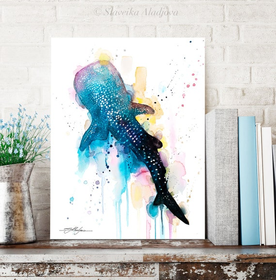 Blue Whale shark watercolor painting print by Slaveika Aladjova, art, animal, illustration, Sea art, sea life art, home decor, Wall art