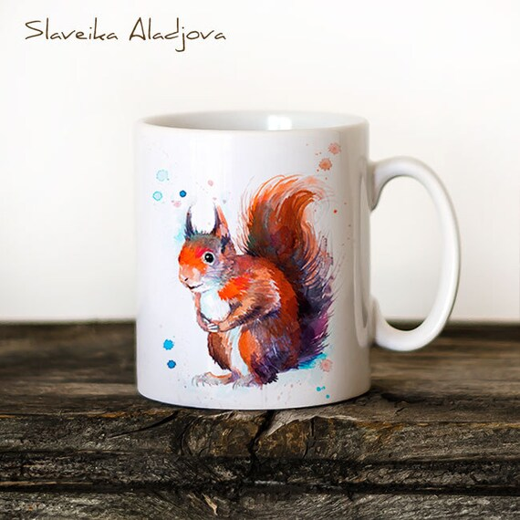 Red squirrel Mug Watercolor Ceramic Mug Unique Gift Coffee Mug Animal Mug Tea Cup Art Illustration Cool Kitchen Art Printed mug