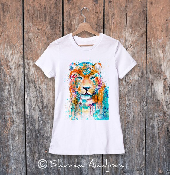 Panther Leopard watercolor ladies' T-shirt, women's tees, Teen Clothing, Girls' Clothing, ring spun Cotton 100%, watercolor print