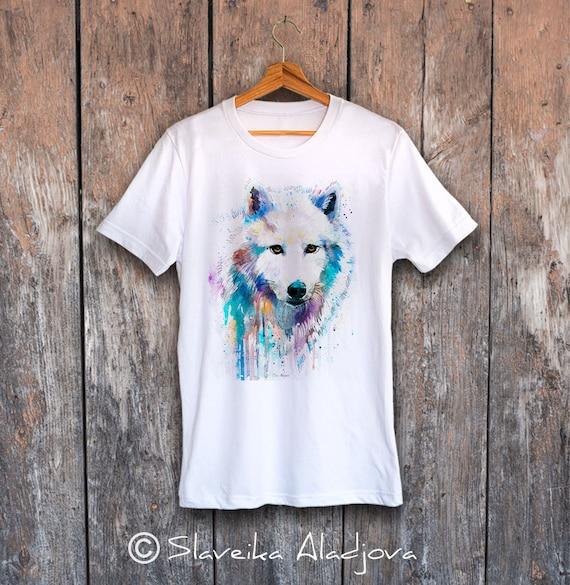 Arctic Wolf T-shirt, Unisex T-shirt, ring spun Cotton 100%, watercolor print T-shirt, T shirt art, T shirt animal, XS, S, M, L, XL, XXL