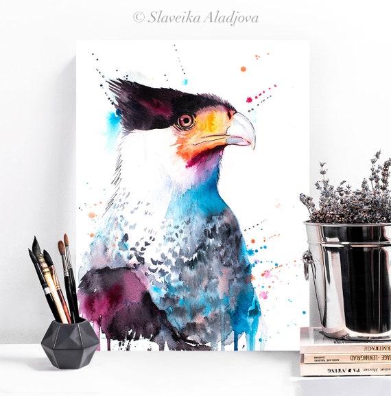 Northern Crested Caracara watercolor painting print by Slaveika Aladjova, art, animal, illustration, bird, wall art, Wildlife, Contemporary