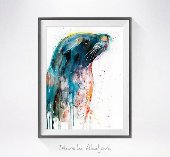 Original Watercolour Painting- Sea lion ,Sea lion art, animal illustration, animal watercolor, animals paintings, animals, portrait,