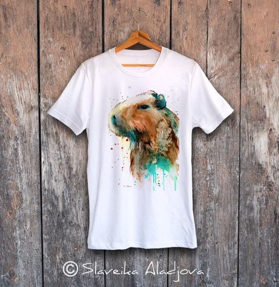 Capybara T-shirt, Unisex T-shirt, ring spun Cotton 100%, watercolor print T-shirt, T shirt art, T shirt animal,XS, S, M, L, XL, XXL